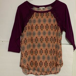 Pink and purple patterned top